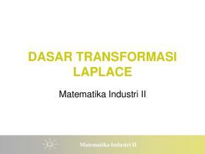 DASAR TRANSFORMASI LAPLACE