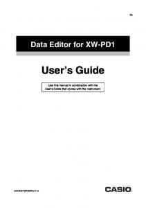 Data Editor for XW-PD1 User s Guide
