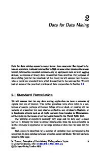 Data for Data Mining. 2.1 Standard Formulation