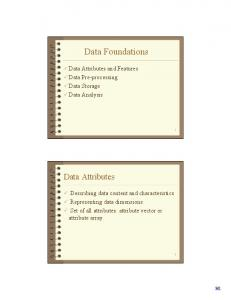 Data Foundations. Data Attributes. Data Attributes and Features Data Pre-processing Data Storage Data Analysis