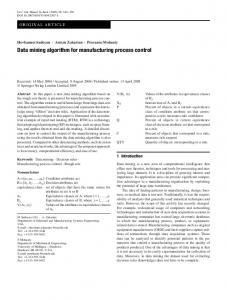 Data mining algorithm for manufacturing process control