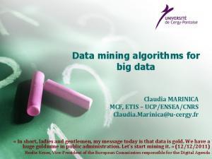 Data mining algorithms for big data