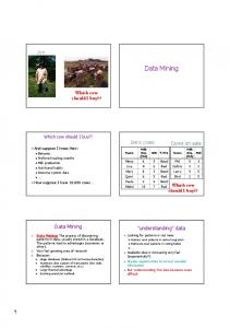 Data Mining. Data Mining. Jim. Jim s s cows. Cows on sale. understanding data. Which cow should I buy?? Which cow should I buy??