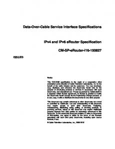 Data-Over-Cable Service Interface Specifications