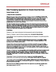 Data Processing Agreement for Oracle Cloud Services
