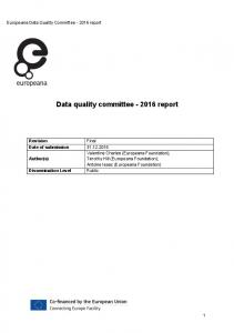 Data quality committee report