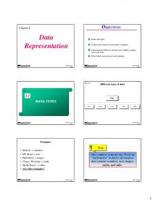 Data Representation OBJECTIVES 2.1 DATA TYPES. Chapter 2. Note: