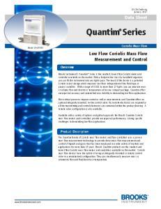 Data Sheet. Low Flow Coriolis Mass Flow Measurement and Control. Overview. Product Description. Coriolis Mass Flow