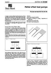 Data Sheet. Peltier effect heat pumps. RS stock numbers ,