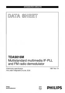 DATA SHEET. TDA9816M Multistandard multimedia IF-PLL and FM radio demodulator INTEGRATED CIRCUITS Nov 19