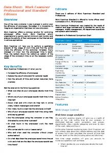 Data Sheet: Work Examiner Professional and Standard