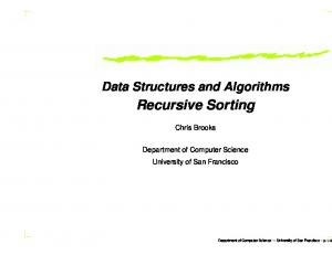 Data Structures and Algorithms Recursive Sorting