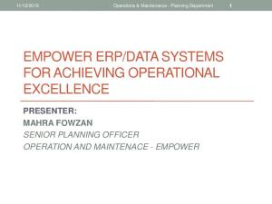 DATA SYSTEMS FOR ACHIEVING OPERATIONAL EXCELLENCE