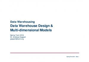 Data Warehouse Design & Multi-dimensional Models