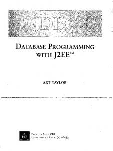 DATABASE PROGRAMMING WITH J2EE