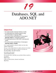 Databases, SQL and ADO.NET