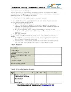 Datacenter Facility Assessment Checklist