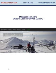 DataGarrison.com WEBSITE USER INTERFACE MANUAL