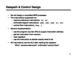 Datapath & Control Design
