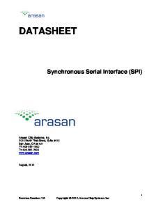 DATASHEET. Synchronous Serial Interface (SPI)