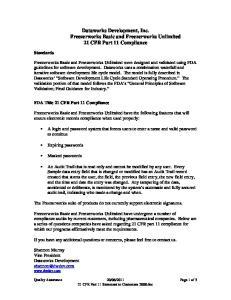 Dataworks Development, Inc. Freezerworks Basic and Freezerworks Unlimited 21 CFR Part 11 Compliance