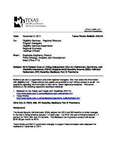 Date: December 9, 2014 Texas Works Bulletin: #15-04