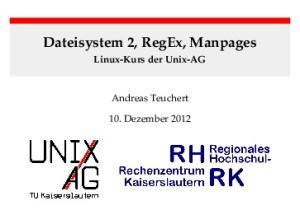Dateisystem 2, RegEx, Manpages