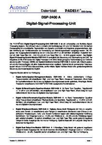 Datenblatt 2000-Series DSP-2400 A Digital-Signal-Processing-Unit