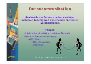 Datenkommunikation. Austausch von Daten zwischen zwei oder mehreren beliebig weit voneinander entfernten Datenstationen. Formen