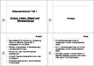 Datenstrukturen Teil 1. Arrays, Listen, Stapel und Warteschlange. Arrays. Arrays. Array