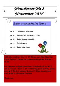 Dates to remember for Term 4