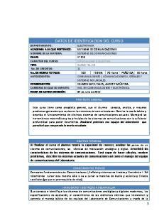 DATOS DE IDENTIFICACION DEL CURSO