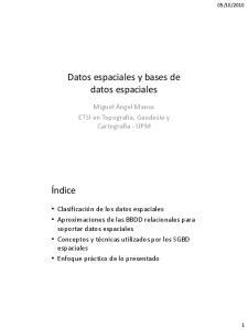 Datos espaciales y bases de datos espaciales