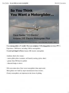 Dave Nadler - So you think you want a motorglider