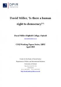 David Miller, Is there a human. right to democracy? 1