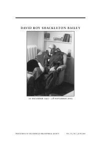 DAVID ROY SHACKLETON BAILEY