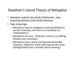 Davidson s Literal Theory of Metaphor