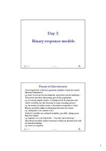 Day 3: Binary response models