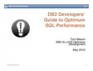 DB2 Developers Guide to Optimum SQL Performance