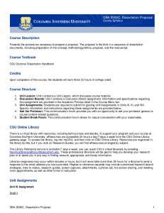 DBA 9306C, Dissertation Proposal Course Syllabus. Course Description. Course Textbook. Credits. Course Structure. CSU Online Library