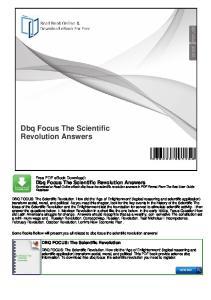 Dbq Focus The Scientific Revolution Answers