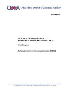 DC Public Education Reform Amendment Act (PERAA) Report No. 5