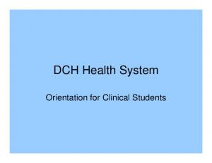 DCH Health System. Orientation for Clinical Students