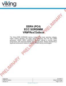 DDR4 (PC4) ECC SORDIMM. PS9FRxx72x8xxx