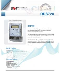 DDS720. Standard features. Advanced Features SINGLE PHASE ELECTRONIC METER