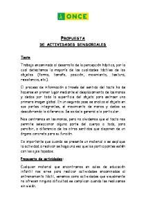 DE ACTIVIDADES SENSORIALES