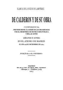 DE CALDERON Y DE SU OBRA