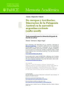 De cuerpos y territorios. Itinerarios de la Patagonia Austral en la narrativa argentina reciente ( )