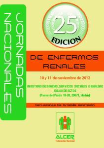 DE ENFERMOS RENALES. 10 y 11 de noviembre de 2012