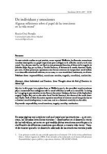 De individuos y emociones Algunas reflexiones sobre el papel de las emociones en la vida moral 1